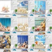 Starfish Conc Douche Rideau Blue Sea Beach Imprimer Imperméable Salle de bain Rideaux de douche Polyester Tissu 180cm Salle de bain en bord de mer Owa3955