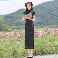 Ethnic Clothing Beading Button Vintage Oriental Qipao Vestidos Improved Summer Elegant Chinese Dress Mandarin Collar Classic Cheongsam Prom