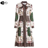 Designer Woman dress Spring Autumn Women's Long sleeve Vintage Print Elegant Bow Pleated Dresses Lady Clothes Slim Vestidos Robe 210729