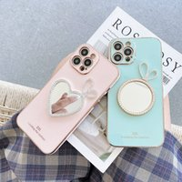 Luxury Makeup Mirror pearl Bow Mobile Phone Cases for iPhone 13 12 11 Pro Max 8 7 Plus XR XS Fashion Kickstand Water Resistant Candy Electroplated protection cover