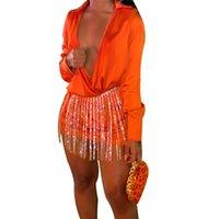 Manica lunga con scollo a V Sequin Casella con nappa Dress Donne Donna Bringa Belt Belt Elegante Vintage Camicia Abiti Party Night Clubwear