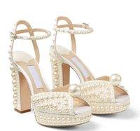 Summer Sacaria Robe De Mariage Chaussures De Mariage Perles Perles Satin Satin Sandals Élégantes Femmes Blanc Mariée Blanc Pearls High Heels Pompes Mesdames EU35-42