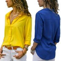 Ehuueuainhovovovoosholds Solid V-образным вырезом шифон плюс размер женщин топы блузки 2021 весна осень элегантный длинный рукав блузка женская работа носить рубашку