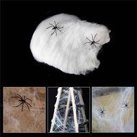 SPIDER WEB HALLOWEEN DECORATIONS D'ÉVÉNEMENT Mariage Fête Fournitures Supports Haunted House Prop Décoration Un grand avec 2 araignées PRW9886