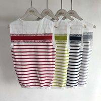 Mujeres tanques 21 verano moda color rayado letra patrón marino marino estilo mujer camis niña punto tops camisetas