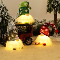 Light Up Glowing Gnome Christmas Faceless Doll Ornament Decoration Xmas Tree Door Hanging Pendants Home New Year Party Holiday Decorations Gift JY0795