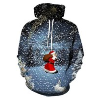 Men's Pattern 3D Printing Hoodie Party Fashion Tops Christmas Round Neck High Quality Street American Sweater Four Seasons NO60