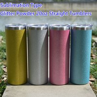 Powder Coating Sublimation 20oz Glitter Straight Skinny Tumblers with Straw Lid Stainless Steel Double Wall Insulated Vacuum Blanks Water Bottles DIY Custom Logo