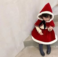 Xmas Girls red princess dress sets kids Bow hooded shawl thicken warm long sleeve dresses children Christmas party clothing A7914