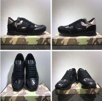 19new sapatos [Caixa original] moda stud camuflagem sapatilhas sapatos calçados homens, mulheres apartamentos designer de luxo rockrunner treinadores casuais sapatos
