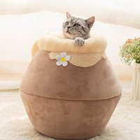 Casa de gato de vaso de mel com almofada de leite Dobrável fechado Caverna Caverna Creative Inverno Grosso Saco de Dormir Quente Kitty Pet Sofá
