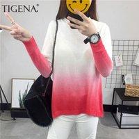 Suéteres de mujer Tigena Hermosa Gradiente Color Otoño Invierno Suéter Mujeres 2021 Manga larga Punto de punto Punto femenino Rosa Jersey Damas