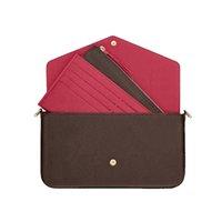 أعلى جودة 3 قطع مجموعة النساء حقيبة الكتف رسول سلسلة حزام حقائب crossbody السيدات رفرف محفظة مخلب القابض مع مربع والغبار القماش حزام