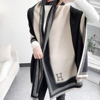 2021 Neue Stil Farbblockierung Kaschmir Schal Winter Warme Klimaanlage Tuch Mittellange Europäischer Stil Quaste Schal Damen