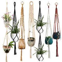 Macrame Plant Hanger Indoor Hanging Planter Basket with Wood Beads Decorative Flower Pot Holder No Tassels for Indoor Outdoor BWF10966