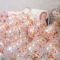 10pcs 12inch 로즈 골드 풍선 색종이 세트 생일 파티 ballons 기념일 장식 선물 결혼식 손님 라텍스 풍선