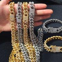 Mens Gelado Corrente Corrente Hip Hop Jóias Colar Braceletes Rose Gold Silver Miami Cuban Link Chaves Colares