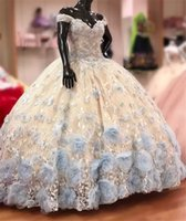 Quinceanera Dresses 3D Floral Applique Beaded Off the Shoulder 2022 Floor Length Crystal Custom Made Sweet 16 Prom Princess Ball Gown vestidos