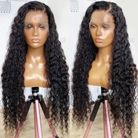 Synthetic Wigs Side Part 180% Density Pre Plucked Natural Black Long Deep Wave Lace Front Wig For Women With Baby Hair Kinky Curly