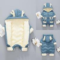 Down Coat 2021 Baby Winter Snowsuit Plus Velvet Thick Boys Jumpsuit 0-2 Years Born Romper Girls Overalls Toddler