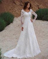 Country A Line Lace Wedding Dress 2022 Long Sleeve Plus Size Bridal Gowns Back Lace-Up Appliques Vintage V Neck Bride Dresses