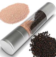 Moedor de pimenta 2 em 1 manual de aço inoxidável sal de pimenta moinho moinho de especiarias ferramentas de cozinha acessórios para cozinhar wwa131