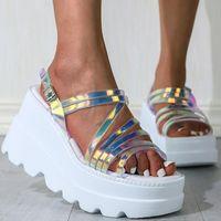 Sandals 2021 Colorful Platform Ladies Fashion PVC Women High Heel Summer Shoes Casual