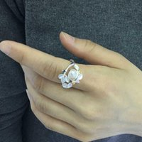 Wedding Rings Trendy Imitation Pearl Beauty For Women Engagement Ring Size 6-10 Jewelry