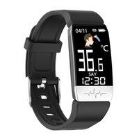 T1S Termometre Akıllı İzle Dijital Sağlık Smartwatch Erkekler Vücut Sıcaklığı Bilekliği Spor Fitness Bilezik