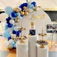 74 قطع ماتي عميق الأزرق بالون جارلاند كيت الزفاف الديكور كروم الذهب النثار الأبيض بالون القوس عيد الشكر حزب ديكور