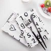 2 unids / set toallas de té 45 * 60 cm Cotten Cocina Tabla de cocina Servilletas Alfabeto Inglés Números árabes Pintados PuleMats