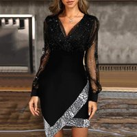 Casual Dresses Women's Autumn Solid Color Sequins Mesh Long Sleeve Bodycon Prom Sexy A-Line Party Mini Dress Vestidos Mujer Robe