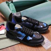 Hombres Rockrunner Camuflaje de camuflaje Zapatos de diseño Noir Tela Nappa Sneaker Cuero genuino Hombre Mujer Pisos Entrenadores de lujo Tamaño 35-46
