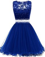 Süße Kristall Pailletten Mini Homecoming Kleid 2021 Zwei Teile Spitze Backless Tüll Plus Size Graduation Cocktail Prom Party Kleid H04