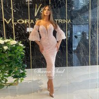 Party Dresses Luxury Beaded Pink Short Prom For Women Wedding Evening Gowns Baby Blue Tea Length Straight Midi Cocktail