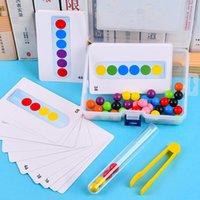 클립 비즈 테스트 튜브 장난감 어린이 논리 농도 정밀 모터 훈련 게임 몬테소리 아이들을위한 교육 장난감
