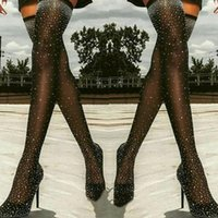 Boots Women Summer Over The Knee Rhinestone Sandals Crystal Thight Long Thigh High Ladies Sock Elastic Sexy Heels