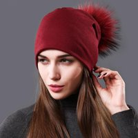 Beanie Skull Caps Solid Color Winter Beanie Hat For Women Wool And Acrylic With Natural Raccoon Fur Pom Hats Doubele Layar Warm Knited Cap