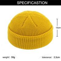 Sombrero de punto casual lana melón piel sombrero otoño invierno caliente hip hop estilo casual corto elástico sombrero neutral