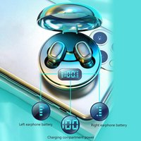 Wireless Earphones A10 TWS Bluetooth 5.0 Wireless HiFi In-Ear Earphones with Round Digital Charging Box Sports Headphones Earbuds