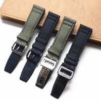 Black Nylon Canvas Band 20mm 21mm 22mm Outdoor Sports Nato Strap band Steel Metal fold pin Buckle Watch Accessories