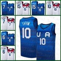 Basketball Jersey Team Amerika 2021 USA Tokyo Sommer Olympiade Dunkelblau Weiß Damian 6 Lilard Kevin 7 Durant Jayson 10 Tatum Devin 15 Bookorer Lila Silber Rosa Grün