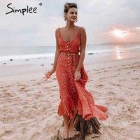 Elegant Polka dot boho women midi summer dress Sexy v-neck strap button A-line Female print beach vestidos 210608