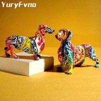 YuryFvna Nordic Pintura Graffiti Dachshund Sculpture Figurine Art Elephant Statue Creative Resin Crafts Decoración del hogar Q0525