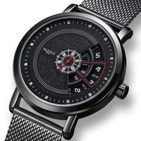 Uthai cq58 мужские кварцевые часы стальные сетки ремень творческие водонепроницаемые деловые часы случайные наручные часы для мужчин h1012