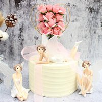 Other Festive & Party Supplies 2021 Fancy 3Pcs Cake Decoration Flower Fairy With Wing Miniature Figurines Angel Desktop Ornament Birthday De