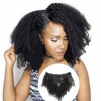 인간의 머리카락 확장에서 몽골어 AFRO 변두리 곱슬 클립 120g / 세트 8pcs 4B 4C 컬 털 머리 묶음 자연 검은 색 클립에