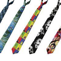 Collo Ties Art Ritratto Pittura 8cm Uomini Cravatta Cravatta Casual Casual Slim Poliestere Party Accessori da sposa