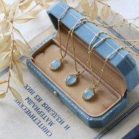 Natural Aquamarine Pendants Necklaces Titanium Steel Stone Clavicle Chain for Women Vintage Jewelry