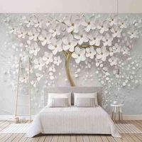 Özel Herhangi Boyutu Duvar Resimleri Kağıt 3D Stereo Beyaz Çiçekler Boyama Oturma Odası TV Kanepe Yatak Odası Backdrop Duvar Papel de Parede